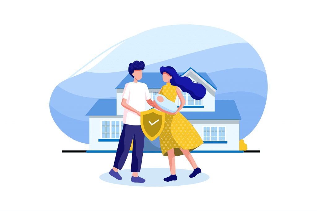 Illustration of family outside of their home.