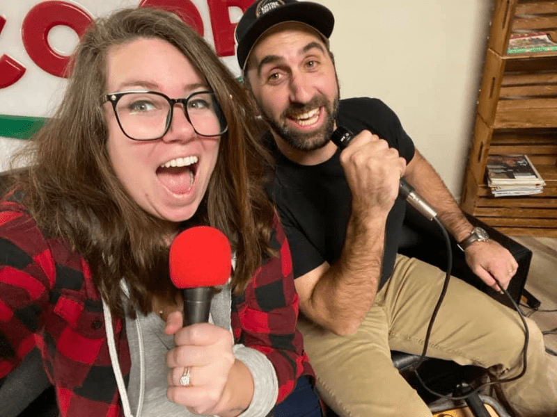 """Erica Marchand and Todd Pearson recording podcast """"Drinks With"""""""