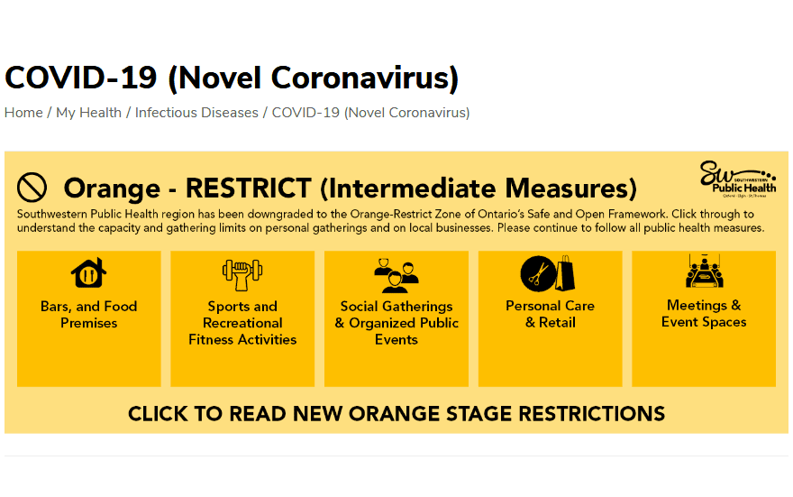 orange – RESTRICT graphic from Southwestern Public Health