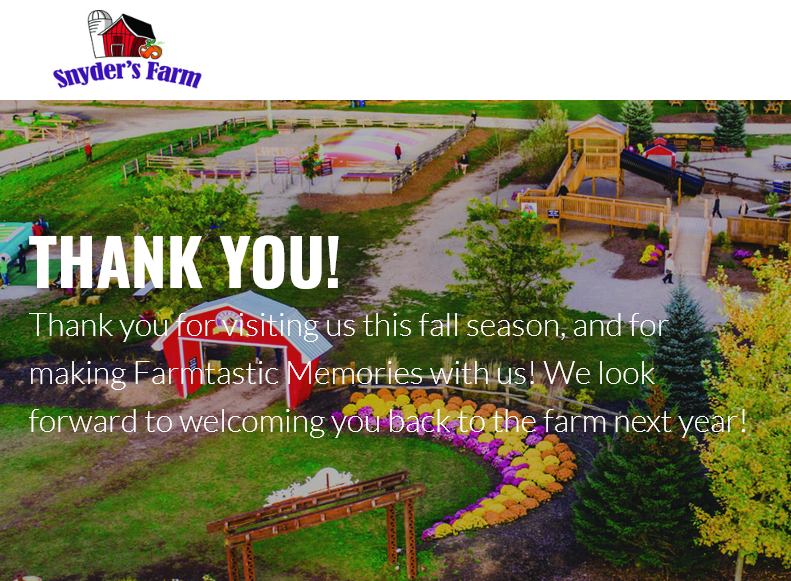 thank you message super-imposed on colourful farm image