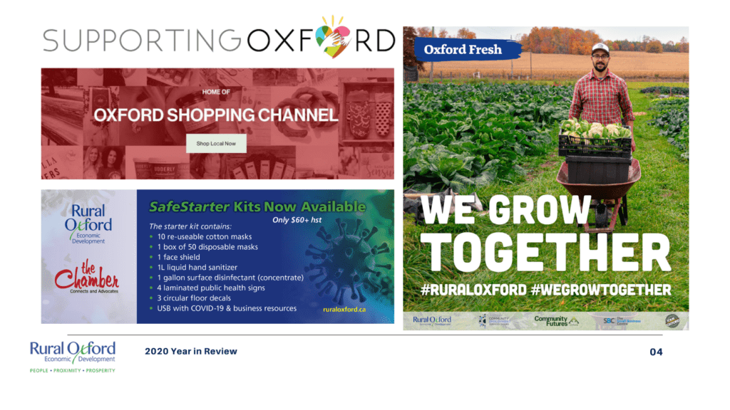 graphic showing Rural Oxford Economic Development partner programs: Supporting Oxford, Oxford Shopping Channel, SafeStarter Kits, and We Grow Together