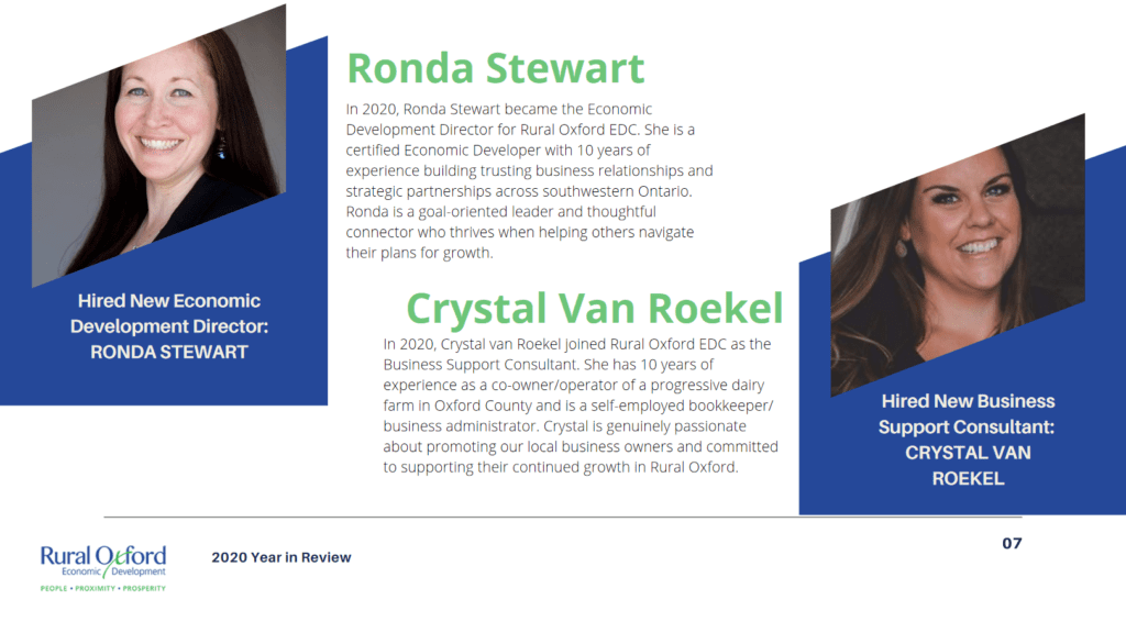 head shots and brief bios of Rural Oxford Economic Development's Director, Ronda Stewart, and Business Support Consultant, Crystal Van Roekel