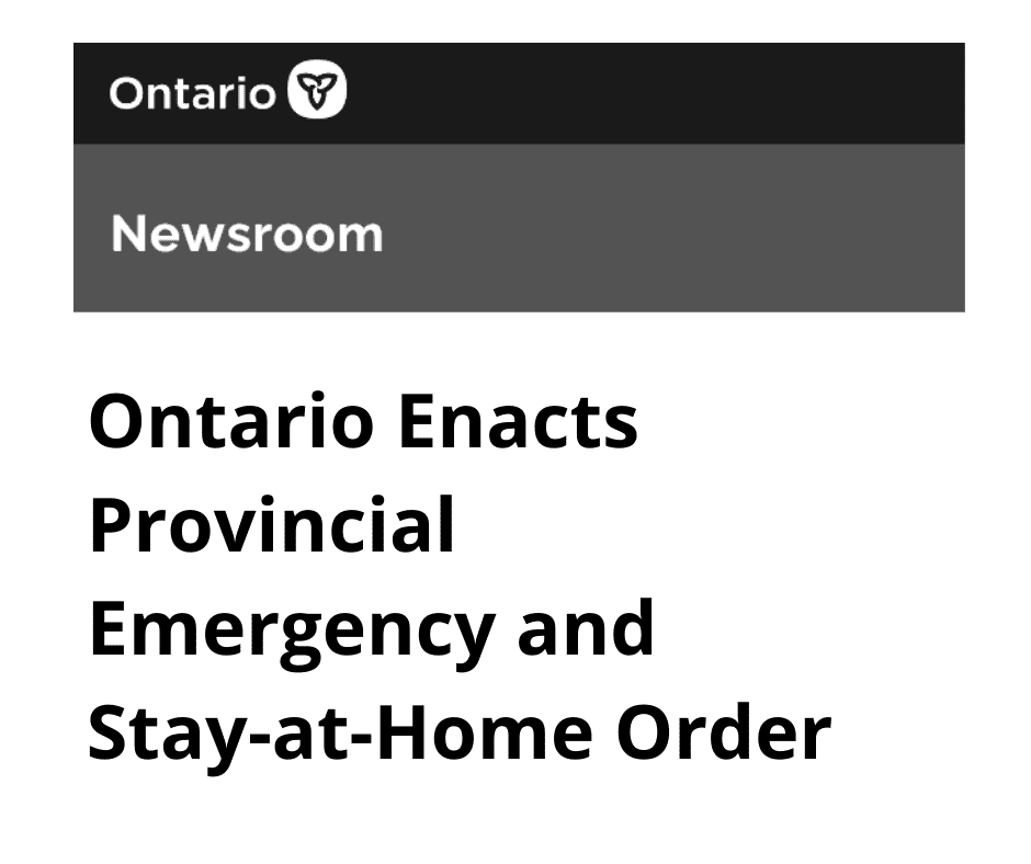 Headline graphic Ontario Enacts Provincial Emergency and Stay-at-Home Order