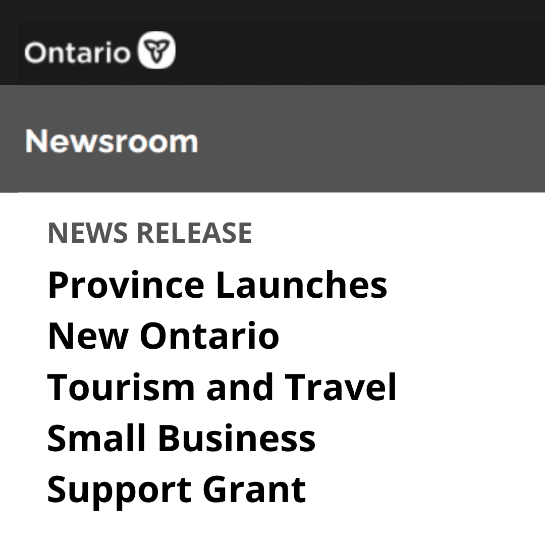Grey scale graphic of headline Province Launches New Ontario Tourism and Travel Small Business Support Grant