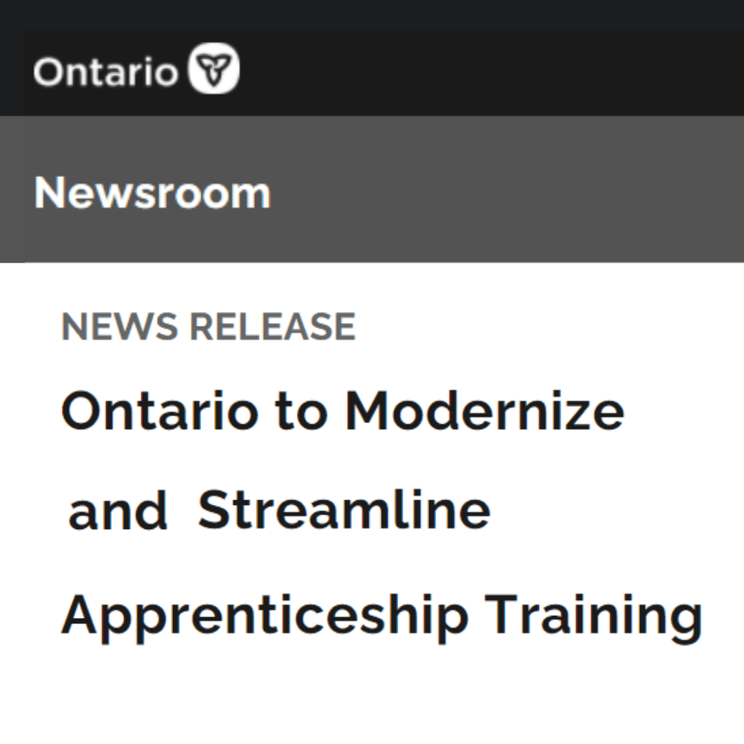 Greyscale graphic text Ontario Newsroom Ontario to modernize and streamline apprenticeship training