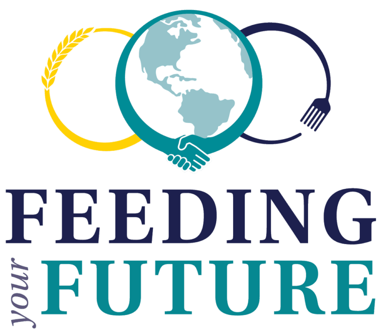 "graphic text ""Feeding your Future"" with 3 linked circles of hands, wheat, and fork"