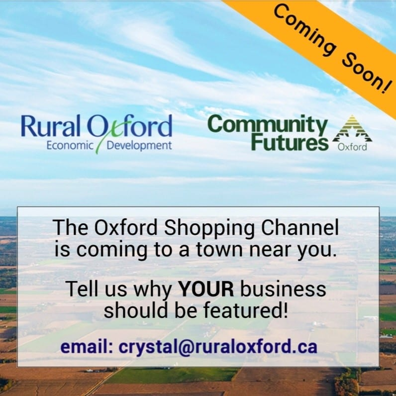Contact information for Oxford Shopping Channel – Rural Oxford Series superimposed on ariel view of Oxford County