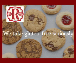 """Rosy's logo and """"We take gluten-free seriously"""" superimposed on a sheet of cookies"""