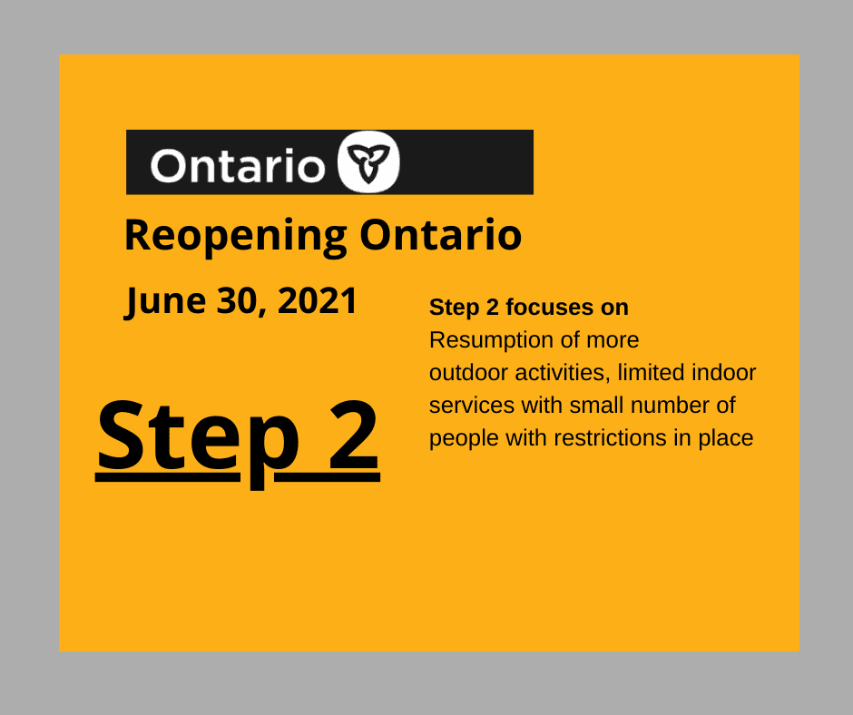 Black text on yellow background announcing Step 2 of Ontario Roadmap to Reopening
