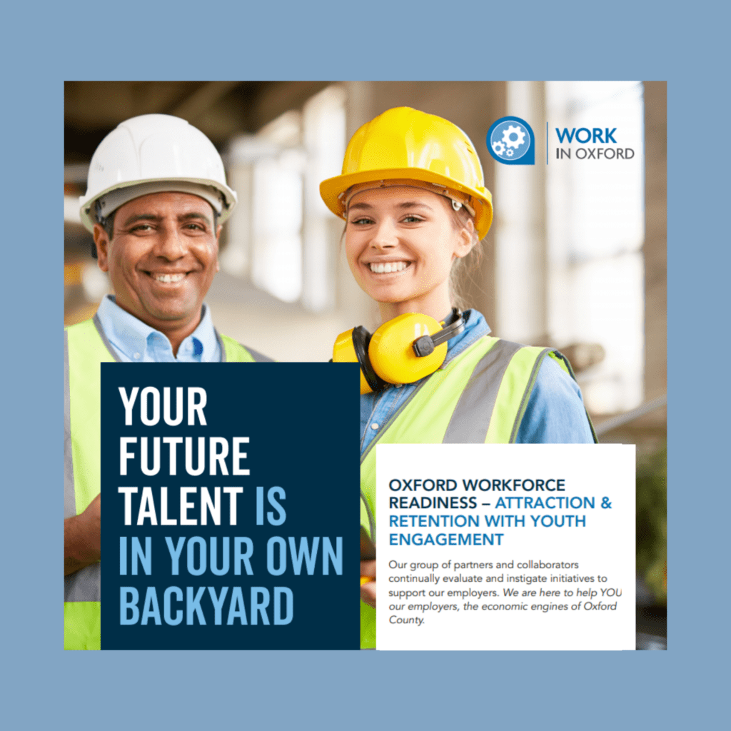 """Test """"YOUR FUTURE TALENT IS IN YOUR OWN BACKYARD"""" superimposed on background showing worker with Co-op student wearing hard hats"""