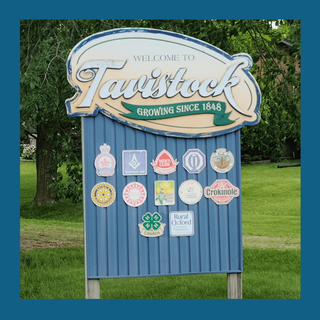 Photograph of welcome road sign in Tavistock, Ontario