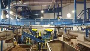 Inside of new StormFisher facility in Drumbo Ontario showing conveyers and hoppers