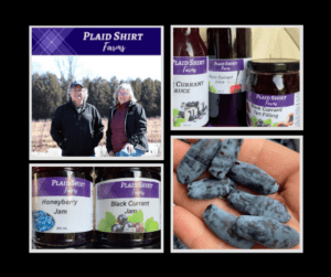 Black background with images of Plaid Shirt Farms owners and their products