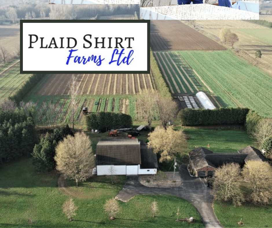 Arial view of Plaid Shirt Farms with logo superimposed