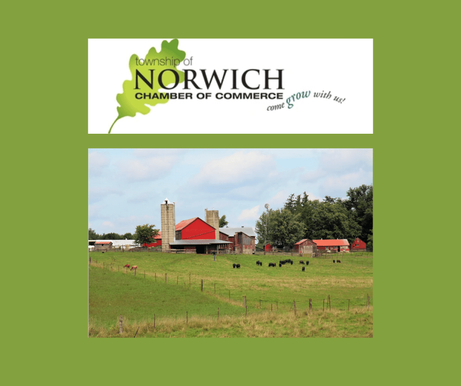 Norwich Chamber of Commerce logo and farm image on green background