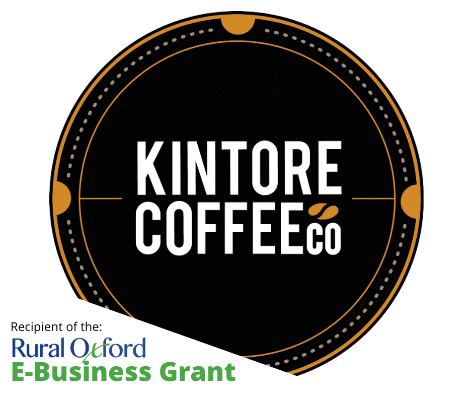 """Kintore Coffee logo with """"Recipient of the: Rural Oxford E-Business Grant"""" superimposed in bottom left corner"""