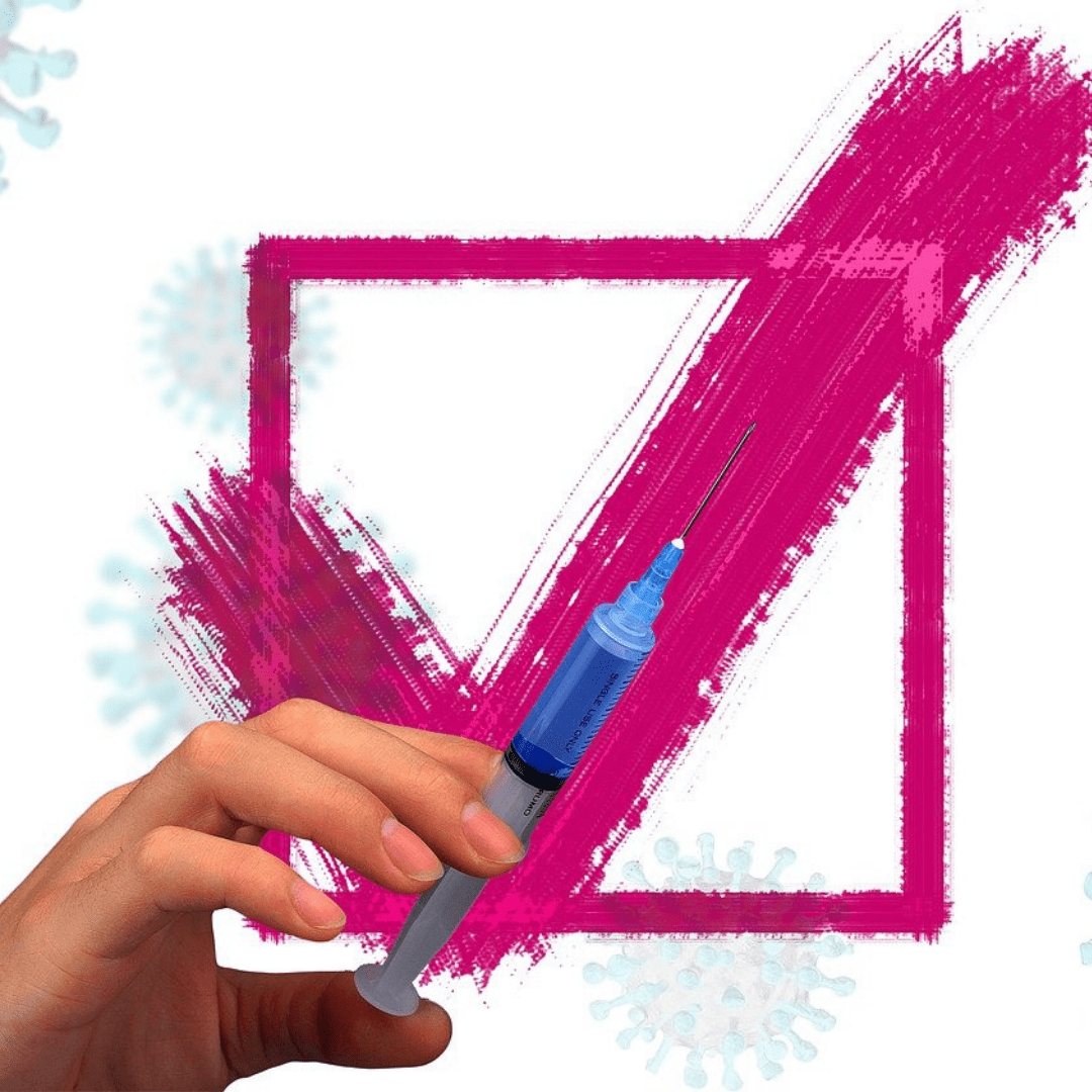 hand preparing vaccination for injection against background of pink check mark and grey virus particles on white background
